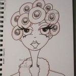 Red robe in curlers by Nicci