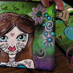 handpainted wristlet bag by Nicci Dot C A